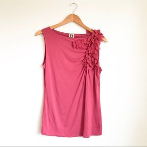 Anne Klein Pink Tank Top with Ruched Appliqué